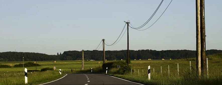 Telephone line by road